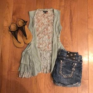 Rue 21 small sage vest with lace and ruffles